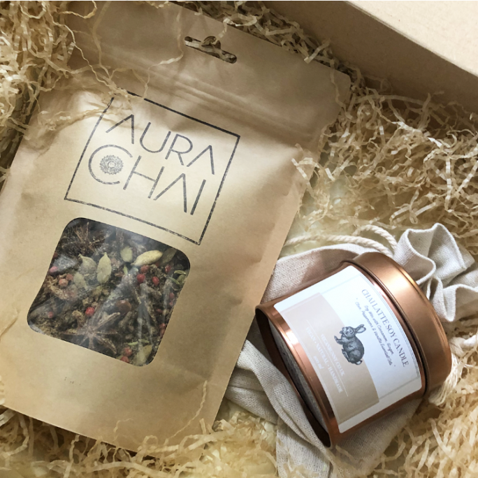 chai latte candle gift set